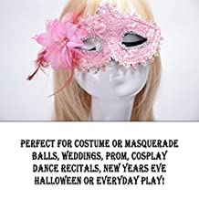 YAZILIND Sexy lace Style Rhinestones Eye Shield Halloween Party Costume Masquerade Lily Flower Princess Mask