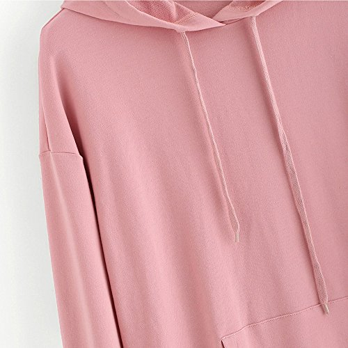 Femme Blouse Manteau Tops Outwear Coeur Taille Automne Tops Grande Manches Imprim Rose Solike Hiver Capuche Chemise Sweatshirt Chaud Sweat Fille Pull Longues OXBtOp