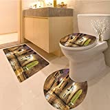 3 Piece Toilet lid cover mat set Ancient Stone Quarter of Barcelona Spain Renaissance Heritage Night Street Photo Ext Very Absorbent Bathroom Bath Mat Contour Rug
