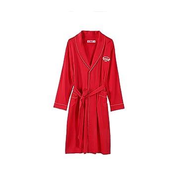 Xin Yu Yue Firm Pijamas de algodón para Hombres Batas de baño Batas de Manga Larga