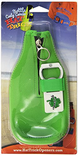 Hat Trick Openers Bottle Cooly Combo with Attached Feel Lucky Logo, Green Neoprene