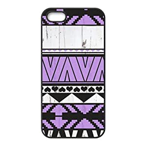 Aztec Wood Purple Pattern Protective Rubber Back Fits Cover Case for iPhone 4s