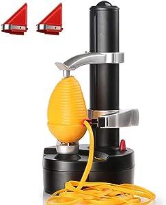 SUPOW Rapid Peeler, Potato Peeler Electric Auto Rotating Apple Vegetable Fruit Peeler Stainless Steel Kitchen Peeling Tool with 2 Extra Blades(Black)