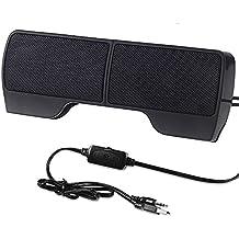 SUPVIN Portable Mini Clip-On USB Powered Stereo Multimedia Speaker Soundbar for Notebook Laptop PC Desktop Tablet Black