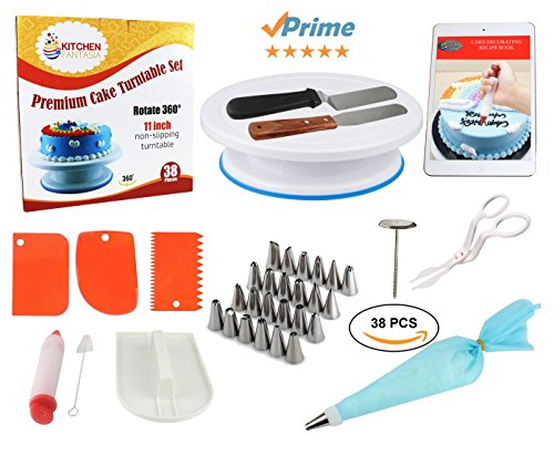 Cake Decorating Supplies Tools Kit - 38 Pcs Premium Baking Tools Set including Rotating Cake Stand Turntable, Icing Tips, Cake Decorating Bags and More Accessories - Cake Decorating Kit for Beginners