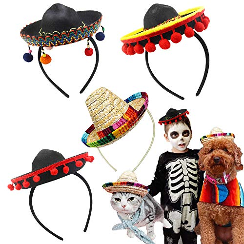 Cinco De Mayo 4 Pcs Small Fiesta Sequined Fabric and Straw Sombrero Headbands Party Costume for Mexican Theme Party,Fun Fiesta Taco Party Supplies, Luau Party Photo Props, Dia De Muertos, Coco Birthday Party Decor, Carnival Party Supplies