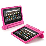 TNP Fire HD 7 Case - Kids Shock Proof Soft Light Weight Childproof Impact Drop Resistant Protective Stand Cover Case with Handle for Amazon Fire HD 7 Inch Tablet 5th Gen 2015 Release (Hot Pink)