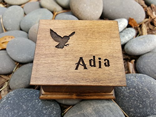 Custom engraved wooden owl music box, personalized with a name on top and for a special request the bottom side of the box as well. Great gift for daughter.