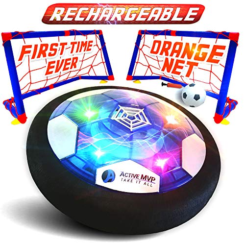 ActiveMVP Kids Toys USB Rechargeable Hover Soccer Ball Set with 2 Goals - Indoor Outdoor LED Light Fun Game - Strong Improved ABS Plastic Quality - No Battery Needed - Boys Girls Age 3 4 5 6 7 8 9 11+ -