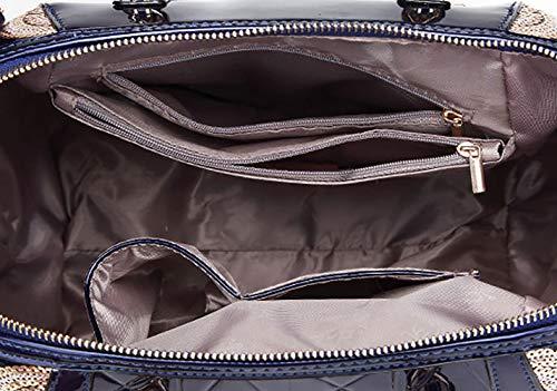 Cuir Sacs Sacs portés main main Sacs épaule Faux portés à Femme Sacs Cartable bandoulière Sacs Bleu DEERWORD Foncé WHxvUqnO15