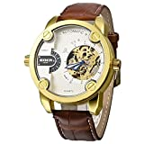 GOER Golden Bezel Two Time Zone Quartz Mechanical Sport Men's Automatic Watch - White