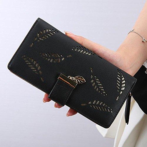Coin Purses PU Leaf Hollow Clutch Women Long Creative Wallets Casual Ladies Black Widewing qPv00