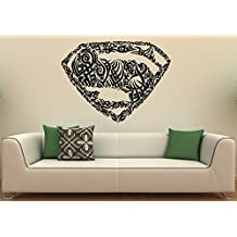 Superman Logo Wall Decal Wall Vinyl Sticker DC Comics Superhero Interior Home Art Wall Murals Bedroom Home Decor (13su01n)