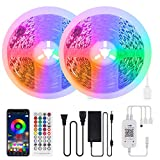 AMVOOM LED Strip Light 65.6ft App Controlled Super Long 20M RGB LED Rope Light 5050 SMD with 44 Keys Wireless Controller and 12V Power Adapter for Room Kitchen Party Festival Deco