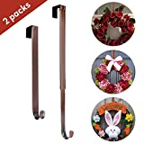 "front door color ideas AnCintre Wreath Hanger, 2 Pack Adjustable Length from 15"" to 25"" Fall Wreath Hanger for Front Door Heavy Duty with 20LB Metal Door Hooks Holder for Christmas Decorations"