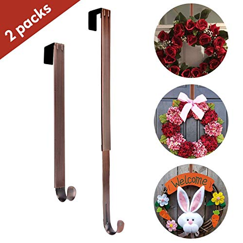 AnCintre Wreath Hanger, 2 Pack Adjustable Length from 15 to 25 Inches Fall Wreath Hanger for Front Door Heavy Duty with 20LB Metal Door Hooks Holder for Christmas ()