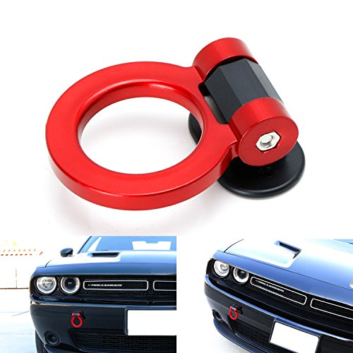 iJDMTOY (1) Universal Red Ring Track Racing Style Tow Hook Look Decoration For Any Car SUV Truck (Not Functional, Decorative Purpose ONLY) (Functional Hook)