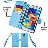 Wisdompro Galaxy S5 Case, Premium PU Leather 2-in-1