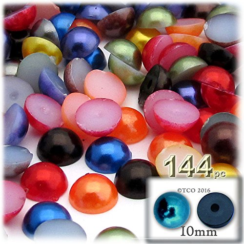 144-pc Pearl Finish Half Dome Beads, Round, 10mm, Jewel Tone Mix