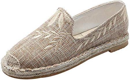 フィッシャーマンシューズレディースシューズはレディースシューズの刺繍夏春と秋のフィッシャーマンキャンバスメンズシューズペダルデオドラントカジュアル潮シューズ布靴通気性のリネンレイジーボードシューズ (Color : Beige, Size : 24.5cm)