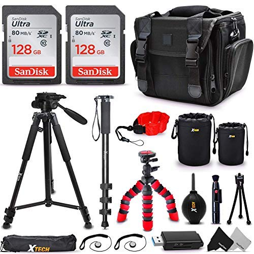 "Ultimate DSLR Camera Accessories Kit, a Great Accessory Bundle for Professional and Amateur Photographers, Includes: 256GB SD Memory, Premium Camera Case, 72"" Tripod/Monopod + More"