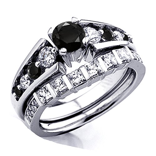 1.75 Carat (ctw) 18K White Gold Princess & Round White And Black Diamond Bridal Ring Set Engagement Set
