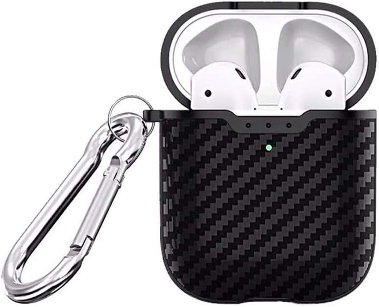 [Front LED Visible] ONGHSD Black Carbon Fiber Texture Protective Cover for Airpods 1 & 2 Case,Support Wireless Charging Shockproof Skin for Apple Airpod 1st 2nd Fashionable Cases 2016 2017 2018 2019