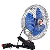 Happykueen 6 Inch 12V Portable Vehicle Auto Car Fan Oscillating Car Truck Cooling Fan For Pets Dogs With Clip Vehicle-mounted
