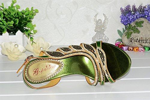 Unicrystal - Zapato de talón abierto mujer Verde - verde