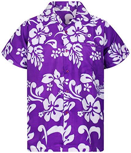 Funky Hawaiian Shirt, Shortsleeve, Hibiscus, Purple, S ()