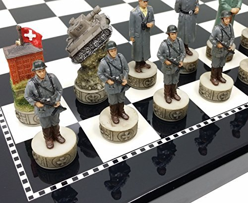 (World War 2 US vs Germany Chess Set Hand Painted W/ High Gloss Black & White Board)