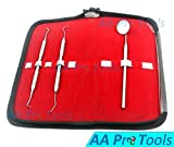 AA PRO DENTAL HYGIENE KIT WITH CASE - PROFESSIONAL GRADE DENTIST TOOL - SOFT STEEL CLEANING SET FOR WHITE TEETH AND HEALTHY GUMS - TARTAR REMOVAL - MIRROR AND SCALER A+ QUALITY