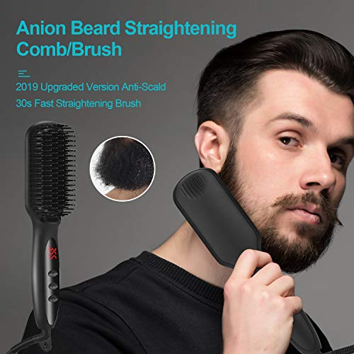 Beard Straightener for Men, WLWQ Beard Straightening Heat Brush LCD Display Adjustable Temperature Anti-Scald Hair Straightener Beard Comb for Home and Travel