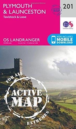 Plymouth & Launceston, Tavistock & Looe (OS Landranger Active Map)