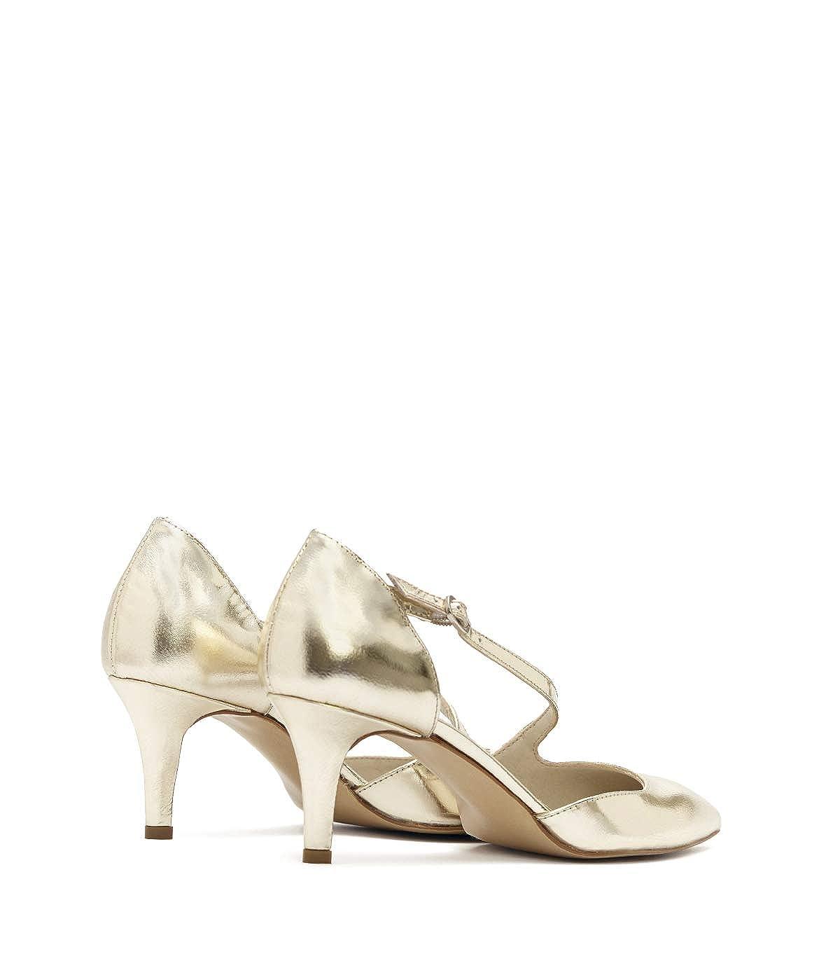 Poi Lei Damen-Schuhe Jessica Riemchen Pumps Jessica Damen-Schuhe PlatinGold Stiletto Leder eecc23