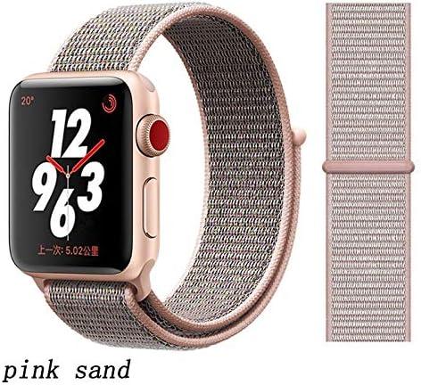 JWJY ユニバーサル・ウォッチバンド44ミリメートル40ミリメートル42ミリメートル38ミリメートルのナイロンブレスレット時計バンド44/42 (Band Color : Pink sand, Band Width : 38mm or 40mm)