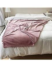 Flannel Blanket with Pompom Fringe Tassel