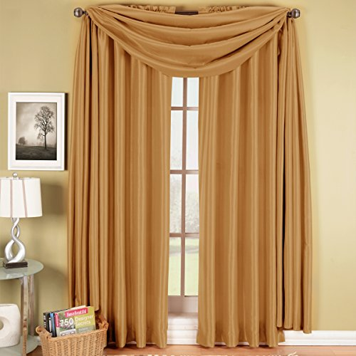 Exquisite Draperies Soho Rod Pocket Faux Silk Window Treatment Collection, Contemporary Décor Single Scarf Valance, 42 Inches W by 216 Inches L, (Silk Scarf Valance)