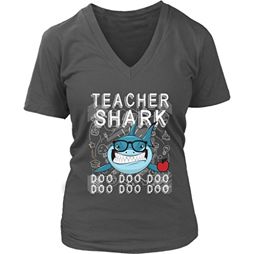 Doo V-neck - Teacher Shark Women V-Neck Shirt Doo Doo Doo Plus Size VnSupertramp Apparel
