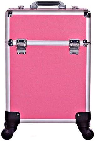 BYCDD Maleta de Maquillaje Profesional, Estuche Cosméticos de múltiples Capas de la Rueda Universal Maletín Maquillaje Trolley Beauty Case Makeup,Pink: Amazon.es: Hogar
