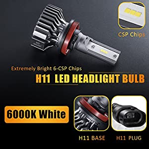 H11/H8/H9 LED Headlight Bulbs Conversion Kit, DOT Approved, SEALIGHT S1 Series 12x CSP Chips Low Beam/Fog Light Bulb- 6000LM 6000K Xenon White