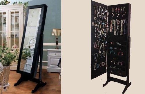 BTExpert Premium Wooden Jewelry Armoire Cabinet Floor Stand Safety Lock Organizer Storage Drawer Cheval Mirror Rings, Necklaces, Bracelets Black by BTEXPERT (Image #4)