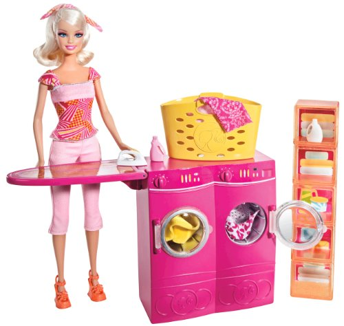 Barbie Spin To Clean Laundry Room and Barbie Doll Set, Baby & Kids Zone