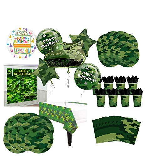 Mayflower Products Army Tank Birthday Party Supplies 8 Guests Military Camouflage Balloon Bouquet -
