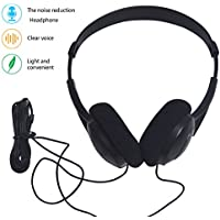 Computer Headset 3.5mm Wired Headphones Over Ear Earphones Noise Cancelling Stereo Headset Lightweight PC Headsets for Smartphones PC Laptops Desktops Windows Mac Mp3 Mp4 Player (headphone black)