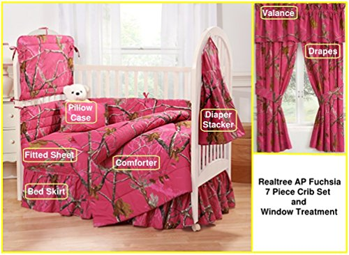 Camo Realtree AP Fuchsia (Hot Pink) 7 Pc Baby Crib Set and Window Treatment Gift Set (For Oak Girls Mossy Bed Sets)