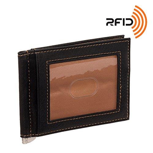 Osgoode Marley Leather RFID Money Clip Front Pocket Wallet (Black/Saddle) (Osgoode Leather Pocket Marley)