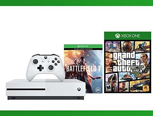 Xbox One S 500 GB Battlefield 1 Console + Grand Theft Auto V + WWE 2K16 Bundle ( 3 - Items ) (Ps3 500gb Grand Theft Auto V Bundle)