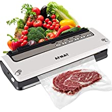 Vacuum Sealer Machine, Vacuum Food Sealer Machine, Automatic Air Sealing System for Food Savers, Built-in Cutter, Dry and Moist Modes, Normal and Soft Modes, 18 Vacuum Sealer Bags, 1 Roll & 1 Vacuum Hose, White