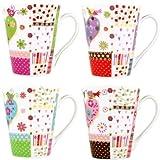 Kaffeebecher Teetassen Set Groß aus Porzellan mit buntes Herz und Vogelmotiv